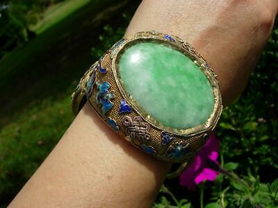 A Large Antique Chinese Enamel Silver And Apple Green Jade Bracelet