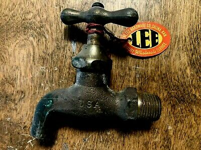 Antique LEE HARDWARE-SALINA KS Vintage CALCO Brass Single Cold Water Tap Faucet