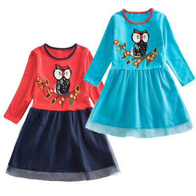Toddler Newborn Baby Kids Girls Dress Owl Print Patchwork Party Casual Dresses