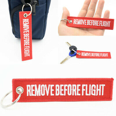 Remove Before Flight Car key Chain Luggage Tag Zipper Keychain Embroidery Hot