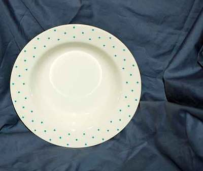 "Homer Laughlin China 8-1/8"" Rimmed Soup Bowl with Blue Polka Dots on White"
