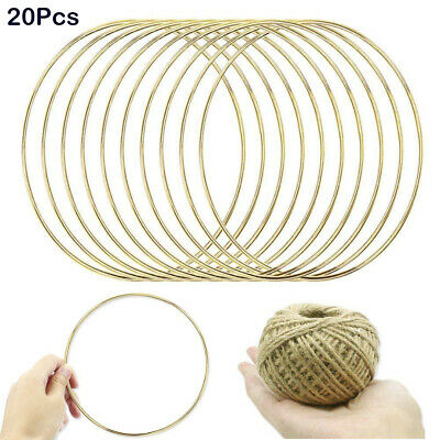 20* Metal Dream Catcher Dreamcatcher Feather Ring Craft Round Hoop Gold 150mm AU