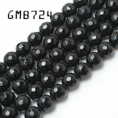 Natural Stone Faceted Black Agata Onyx Round Loose Spacer Beads 4 6 8 10 12 14mm