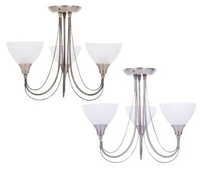 Pair of Br Chrome or Ant Brass and Opal 3 ArmFlush Ceiling Light Chandelier