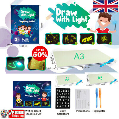 Draw With Light Fun & Developing Toy Drawing Board Magic Draw Educational BEST!!