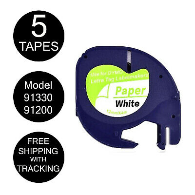 5x Compatible DYMO Black on White Paper LetraTag 91330 91200 Label Tape 12mm x4m