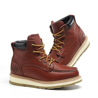 Work Boots for Men Soft Toe Waterproof Safety Working Shoes Genuine Leather