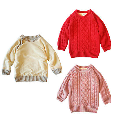 Toddler Kids Baby Girls Boys Winter Warm Soft  Sweater Long Sleeve Knitted Tops
