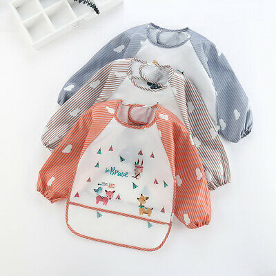 Baby Toddler Kids Waterproof Long Sleeve Bibs Apron Animal Cartoon Feeding Smock