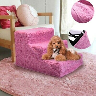 New Pet Stairs 3 Step Climb Dog Ladder w/ Cover Animal Cat Ramp Steps Stair Pink