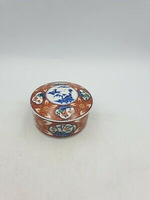 Japanese Porcelain Lidded Trinket Box Imari Style Rust Red Blue Floral Scenic