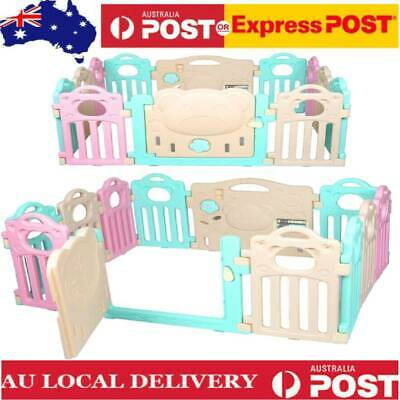 Baby Playpen Kids 12 Panel Safety Play PE Yard Home Indoor Outdoor Pen Fence AU