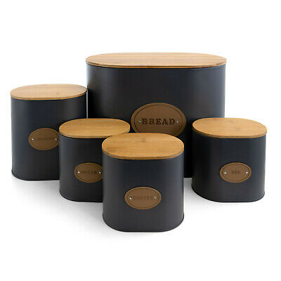 Bamboo Lids Kitchen Food Storage 5 Piece Canister Jar Set Bread Cookie Condiment