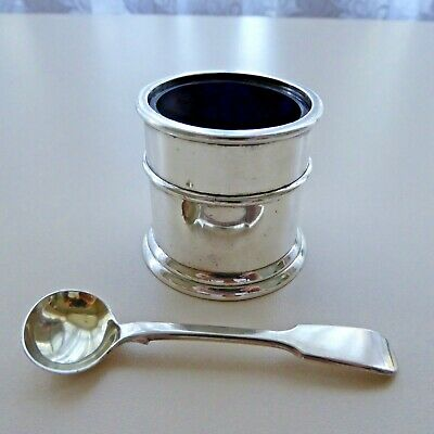 Vintage Silver Plate Large Open Salt Or Mustard Pot With Blue Glass Liner Spoon