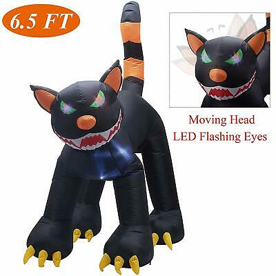 6.5ft Lighted Inflatable Halloween Animated Black Cat Outdoor Yard Decoration