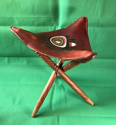 Elephant Leather 3-Legged Stool / Vintage 1975 Handmade Original From Gambia!