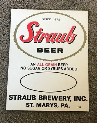 Vintage Straub Beer - Brewing Co Advertising Sign Saint -  St. Marys Pa