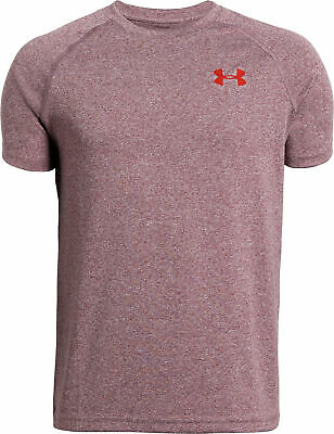Under Armour Tech Junior Boys Training Top Red Short Sleeve Sports T-Shirt Youth