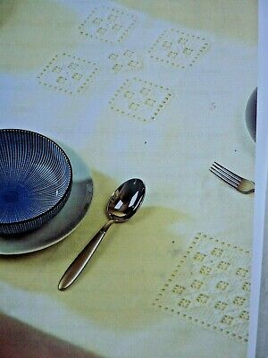 3338]Hardanger Chart Square Motifs Applied to Tablecloth
