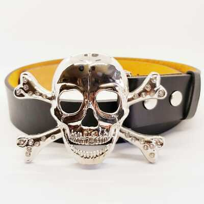 Skull & Crossbones Belt Buckle Biker Goth Pirate Booty Goth Emo Halloween