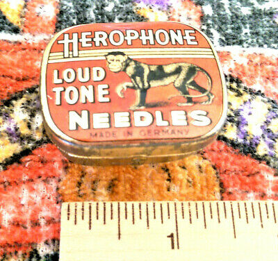 Vintage tin Herophone Loud Tone Needles Made In Germany  interesting graphics.