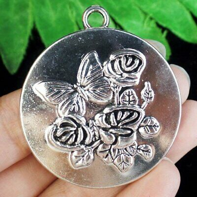 43x4mm Carved Tibetan Silver Round Flower Butterfly Pendant Bead D67747