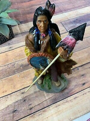 "15"" Height Native American Indian Warrior Holding Spear Standing Figurine Statue"