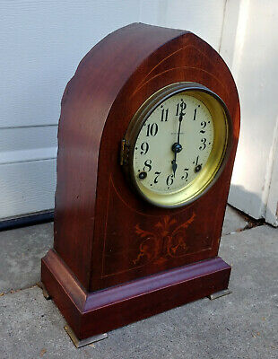 Antique Seth Thomas Beehive Mantle Parts/Repair Clock Marquetry Inlaid Wood Case