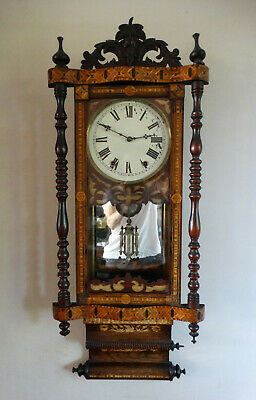 Antique Victorian American Inlaid Wall Clock by New Haven c1880 Chiming 8 Day