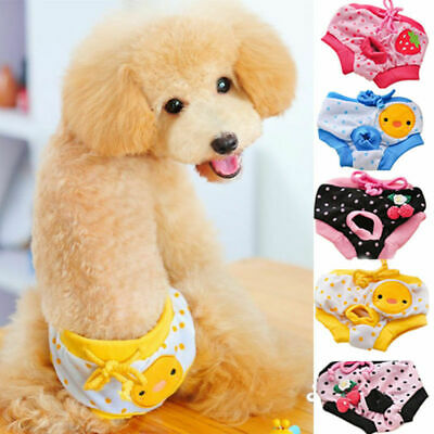 US Female Dog Cartoon Diapers Puppy Washable Reusable Underwear Breathable Pants