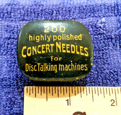 Vintage flip  metal tin - 200 highly polished Concert  Needles for disc machines