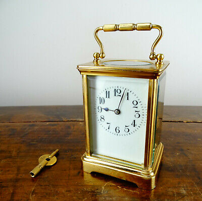 Antique French Striking Brass Carriage Clock from U.B Lust Fremont Ohio c1920