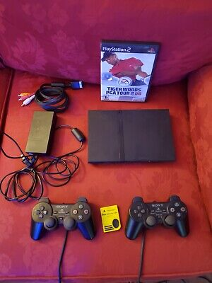 Sony PlayStation 2 PS2 Slim Console - Charcoal Black Tiger Woods PGA 06