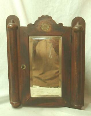 Rare Antique 1855 OLD PRENTICE WHISKEY Corner Cabinet & Medallion.Advertising.