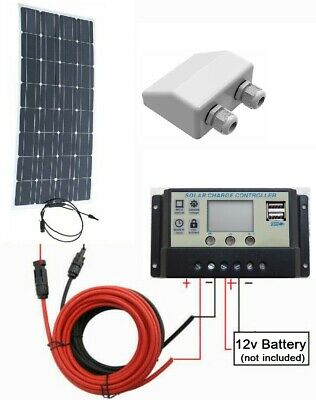 80w Flex ETFE Solar Panel + 10A LCD Controller 2x USB + 3m cable 12v Charger Kit
