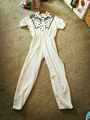 "True Vintage White ""Abba"" Cotton Black Polka Dots Jumpsuit. Size Uk Medium.Retro"
