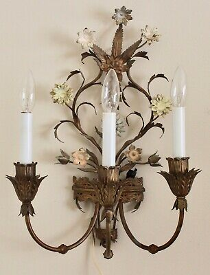 """Vintage Italian French Regency Tole 3 Arm Electric Floral Wall Sconce 19"""""""