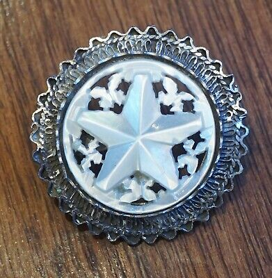 Vintage sterling silver carved mother of pearl ornate Art Deco round pin pendant
