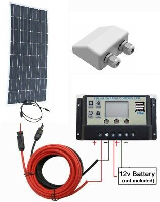 50w Flex ETFE Solar Panel + 10A LCD Controller 2x USB + 3m cable 12v Charger Kit