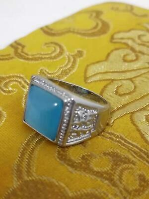 UNIQUE CHINESE SILVER-PLATED opal JADE HAND-CARVED RING EXCLUSIVE CUSTOM COLLECT