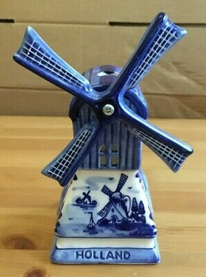 DELFT POTTERY HOLLAND - BLUE & WHITE ORNAMENTAL WINDMILL / CANDLE BURNER 180mm