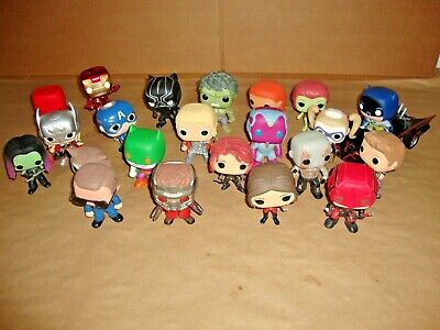 Lot Of 22 Funko Pop Super Heroes DC Marvel Figures + Batmobile