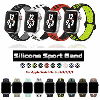 40/44/38/42/mm Silicone Sport iWatch Band Strap for Apple Watch Series 5 4 3 2 1