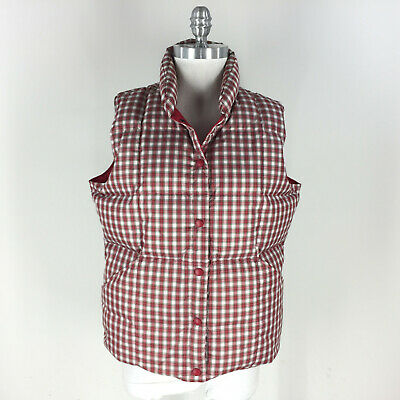 Lands' End M 10 12 Red White Plaid Check Puffer vest Down Fill Excellent