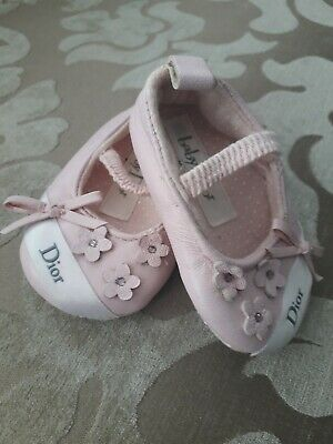 Pink Baby Dior Shoes with elasicated hold.