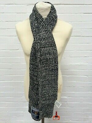 Mens Superdry Black White Twist Chunky Cable Knit Scarf One Size BNWT #FC5-CF