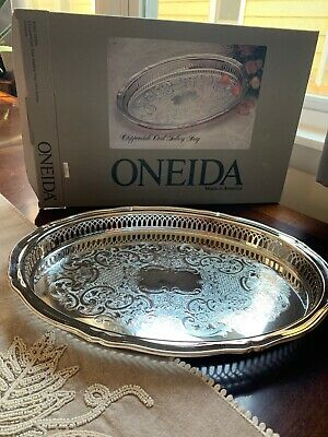 """Oneida Chippendale Oval Gallery  Serving Tray 14 3/4"""" Silverplate In Box"""