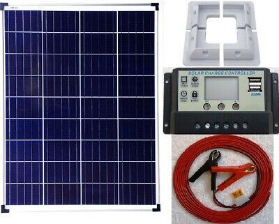 80w Solar Panel +LCD Charger Controller +6m cable fuse battery clip +bracket RV