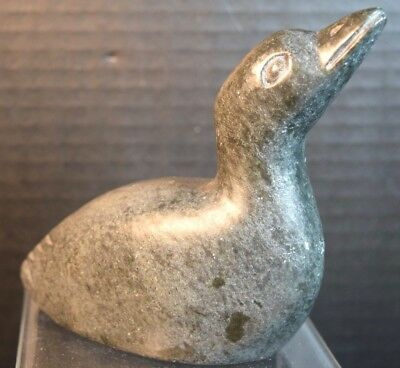 """Canadian """"Eskimo"""" Carved Stone Duck Sculpture"""