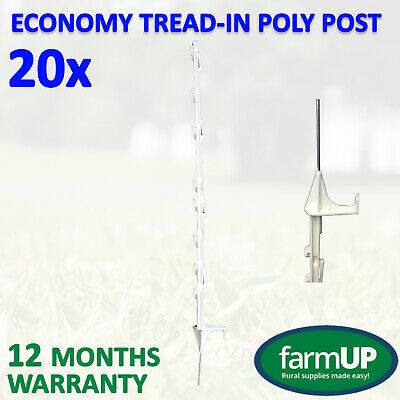 20x ECONOMY TREAD-IN POLY POST 110cm Step Electric Fence Rope Multi Wire Tape